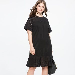 Eloquii NWT - Eyelet Detail Dress w/ Flounce Hem